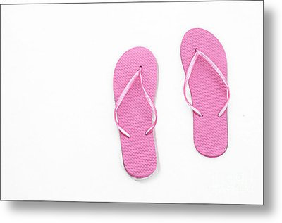 Where On Earth Is Spring - My Pink Flip Flops Are Waiting Metal Print by Andee Design