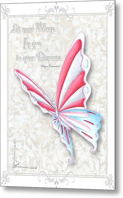 Whimsical Elegant Butterfly Inspirational Dreams Quote By Megan Duncanson Metal Print by Megan Duncanson