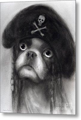 Whimsical Funny French Bulldog Pirate  Metal Print by Svetlana Novikova