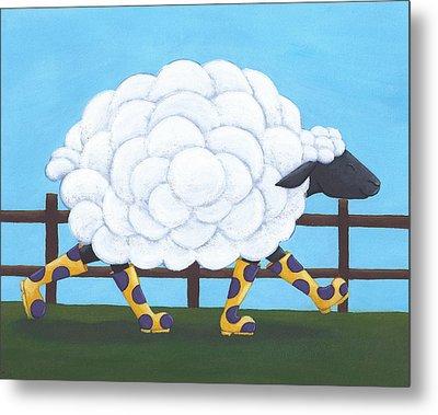 Whimsical Sheep Art Metal Print by Christy Beckwith