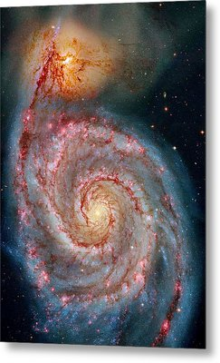 Whirlpool Galaxy In Dust Metal Print by Benjamin Yeager
