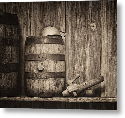 Whiskey Barrel Still Life Metal Print by Tom Mc Nemar
