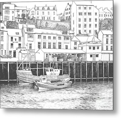 Whitby Harbour Metal Print by Shirley Miller