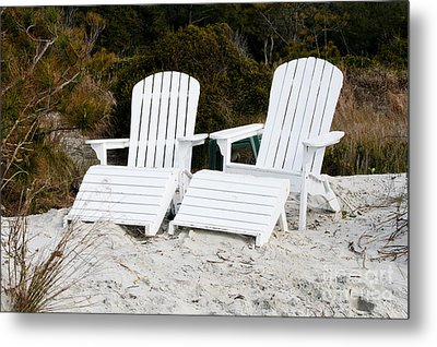 White Adirondack Chairs In The Sand Metal Print by Thomas Marchessault