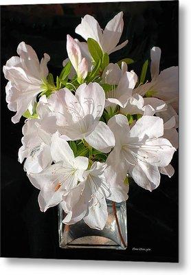 White Azalea Bouquet In Glass Vase Metal Print by Connie Fox