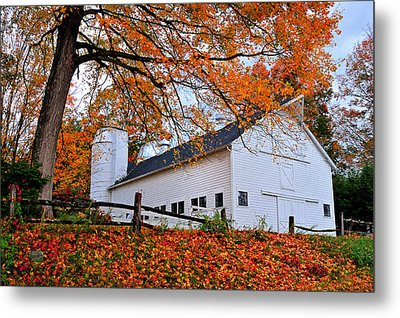 White Barn And Silo Metal Print by Thomas Schoeller