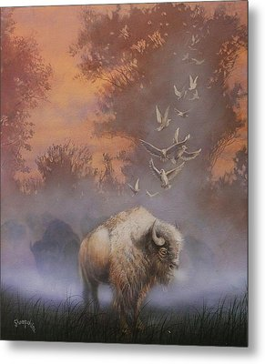White Buffalo Spirit Metal Print by Tom Shropshire