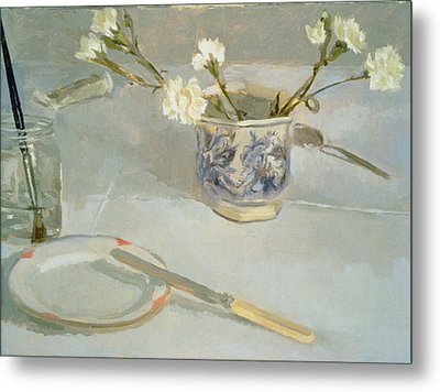 White Carnations In January Oil On Canvas Metal Print by Sarah Butterfield