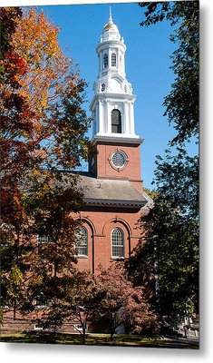 White Church Steeple New Haven Green Connecticut Metal Print by Robert Ford