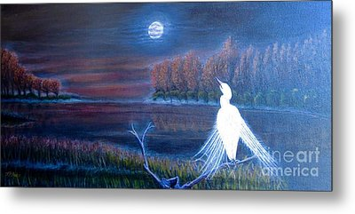 White Crane Dancing In The Light Of The Moon Metal Print by Kimberlee Baxter