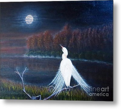 White Crane Dancing Under The Moonlight Cropped Metal Print by Kimberlee Baxter