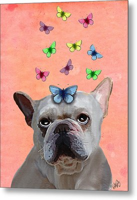 White French Bulldog And Butterflies Metal Print by Kelly McLaughlan