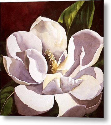 White Magnolia With Red Metal Print by Alfred Ng