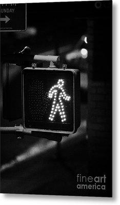 White Man Pedestrian Walk Sign Illuminated At Night New York City Usa Metal Print by Joe Fox