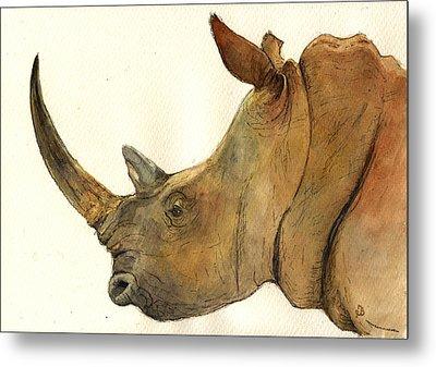 White Rhino Head Study Metal Print by Juan  Bosco