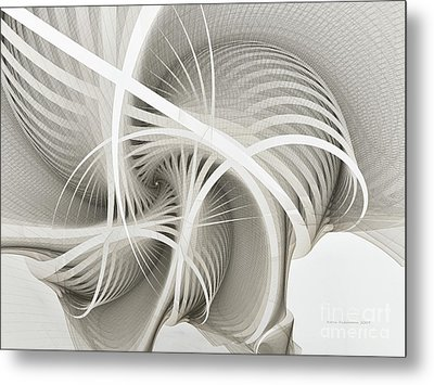 White Ribbons Spiral Metal Print by Karin Kuhlmann