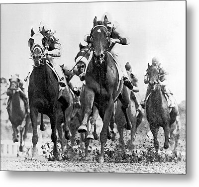 White River With Jockey Tommy Barrow Metal Print by Underwood Archives