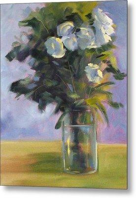 White Roses Metal Print by Nancy Merkle