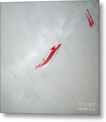 White Sea Red Whale 2 Metal Print by Richard W Linford