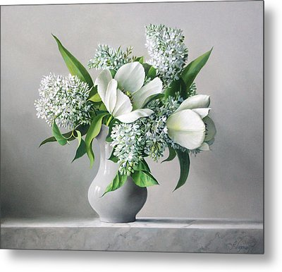 White  Sprintime  Flowers Metal Print by Pieter Wagemans