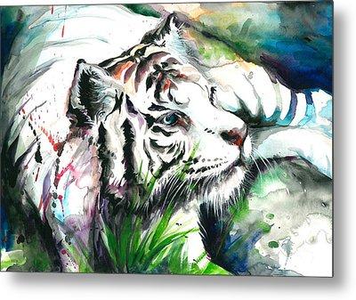 White Tiger Resting Metal Print by Tiberiu Soos