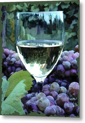 White Wine Reflections Metal Print by Elaine Plesser