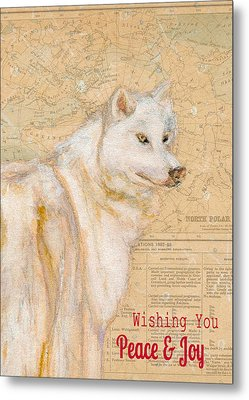 White Winter Wolf Metal Print by Andrea LaHue