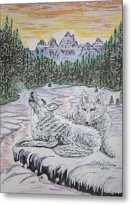 White Wolves Metal Print by Kathy Marrs Chandler
