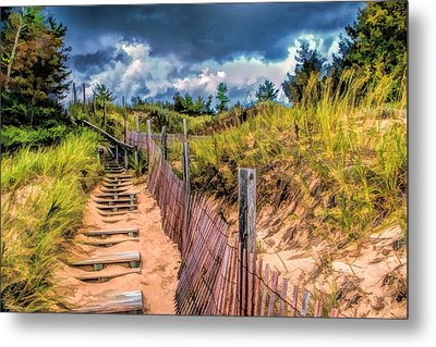 Whitefish Dunes State Park Stairs Metal Print by Christopher Arndt