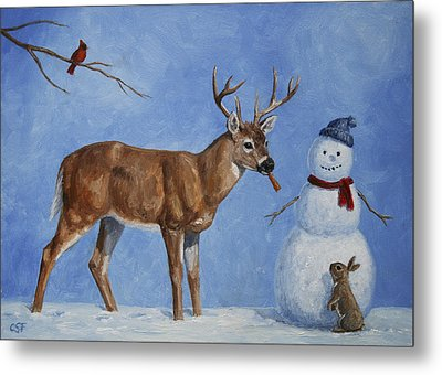 Whitetail Deer And Snowman - Whose Carrot? Metal Print by Crista Forest