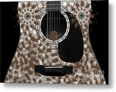 Who Are You - Owl Abstract Guitar Metal Print by Andee Design