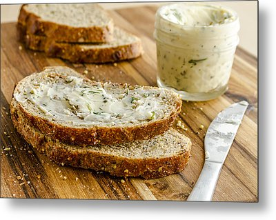 Whole Grain Bread And Herb Butter Metal Print by Teri Virbickis