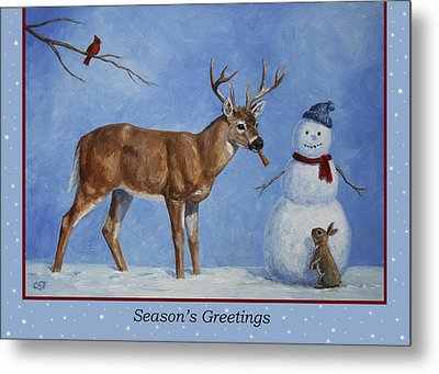Whose Carrot Seasons Greeting Metal Print by Crista Forest