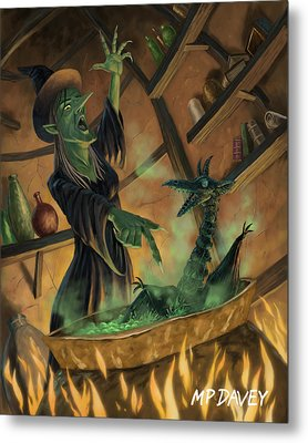 Wicked Witch Casting Spell Metal Print by Martin Davey