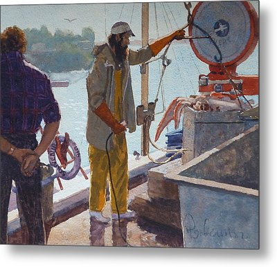 Wieghing The Catch Graymouth Metal Print by Terry Perham