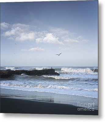 Wild Seascape With Old Jetty And Seagulls Overhead  Metal Print by Colin and Linda McKie