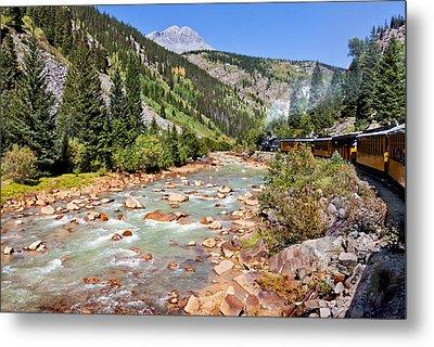 Wild West Train Ride Along The Animas River From Durango To Silverton Colorado Metal Print by Karen Stephenson