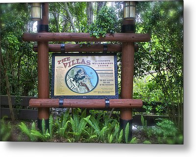 Wilderness Lodge Sign Metal Print by Thomas Woolworth
