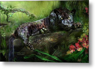 Wildeyes - Panther Metal Print by Carol Cavalaris