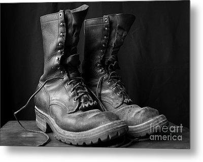 Wildland Fire Boots Still Life Metal Print by Kerri Mortenson