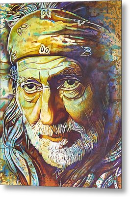Willie Nelson-funny How Time Slips Away Metal Print by Joshua Morton