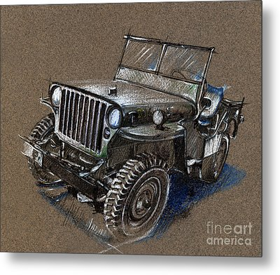 Willys Car Drawing Metal Print by Daliana Pacuraru