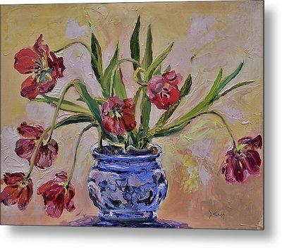 Wilting Tulips Metal Print by Donna Tuten