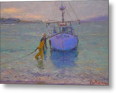 Winching In. Days End Metal Print by Terry Perham