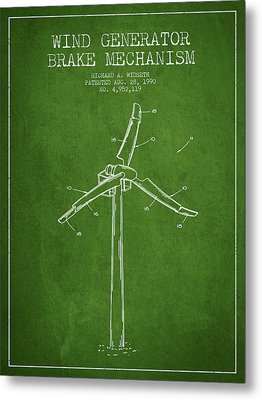 Wind Generator Break Mechanism Patent From 1990 - Green Metal Print by Aged Pixel