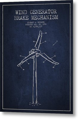 Wind Generator Break Mechanism Patent From 1990 - Navy Blue Metal Print by Aged Pixel