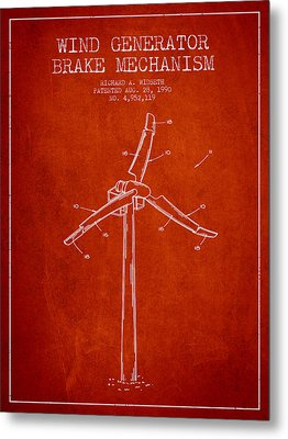 Wind Generator Break Mechanism Patent From 1990 - Red Metal Print by Aged Pixel