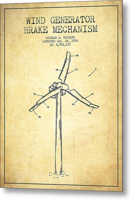 Wind Generator Break Mechanism Patent From 1990 - Vintage Metal Print by Aged Pixel