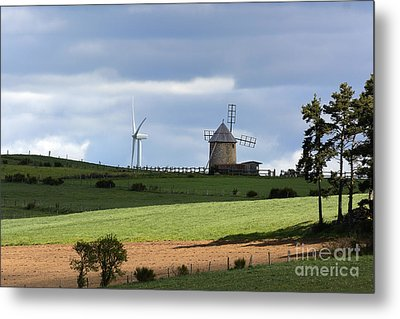 Wind Turbine And Windmill Metal Print by Bernard Jaubert