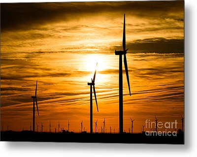 Wind Turbine Farm Picture Indiana Sunrise Metal Print by Paul Velgos
